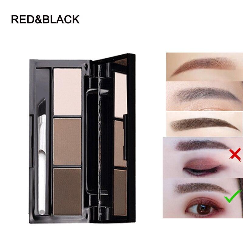 Paleta de polvo de cejas rojo y negro 3 colores impermeable sombra mate natural con cepillo de espejo maquillaje de cejas maguiagem en polvo