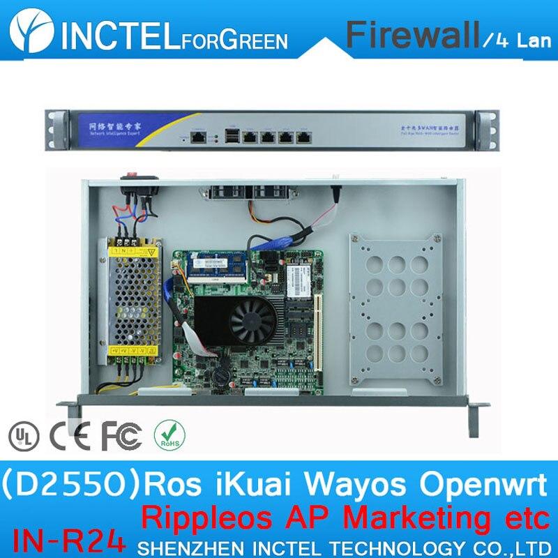 Atom D2550 4 Gigabit LAN 1HE ATOM Firewall Netzwerk Router mit Rack Ohren
