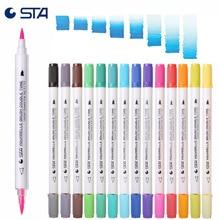 STA 3132 Aquarelle lavable double brosse marqueurs 14 pièce 28 caméléon Art produits couleur doux calligraphie stylos Aquarelle marqueurs