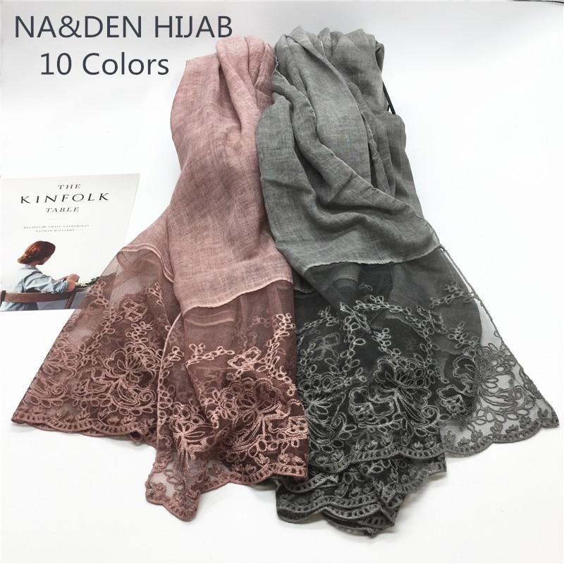 1PCS Hot sale fashion lace women scarves soild elegant simple flowers cotton and viscose Lace Mosaic designshaws high quality