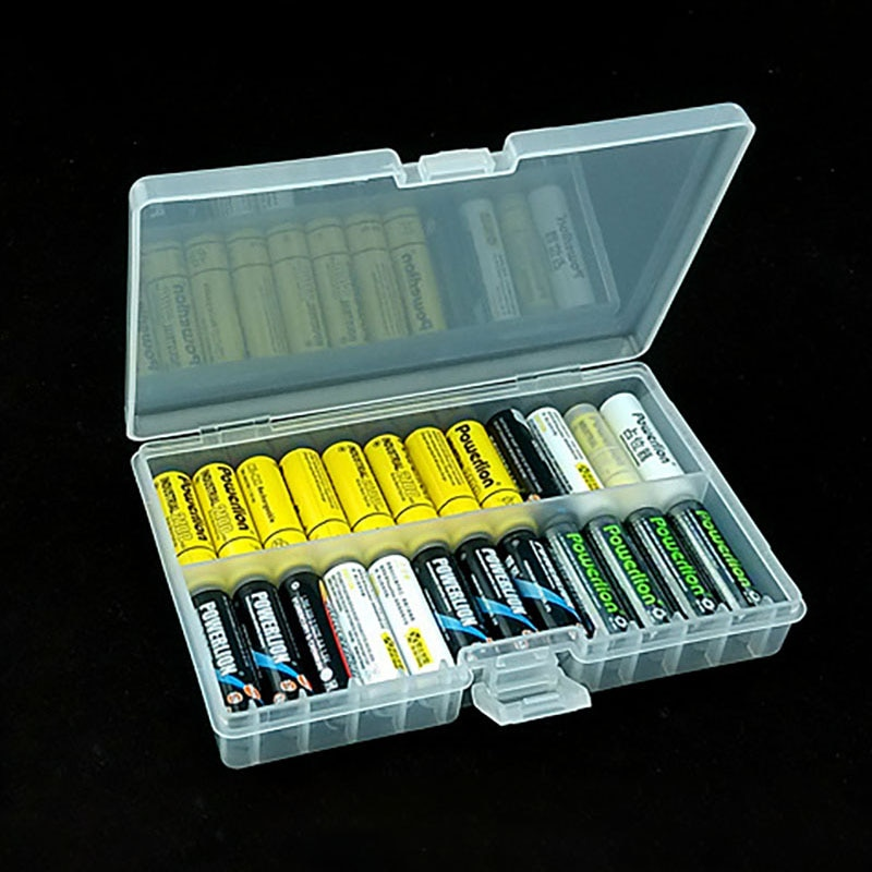 Funda de plástico con soporte para baterías de células Tamaño AA estuche protector de batería portátil caja de almacenamiento para pilas AAA recargable cubierta completa