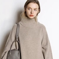cashmere sweater womens new high neck cashmere sweater womens solid color long loose sweater large size knit bottoming shirt