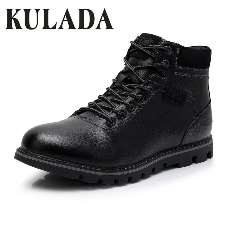KULADA Botas Super Quente Botas De Neve De Couro Preto dos homens Handmade Homens Lace Up Sneaker Casual Sapatos de Inverno Ao Ar Livre À Prova D Água homens