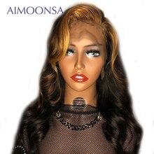 Peluca frontal de encaje rubio miel blanqueadora y teñida Peluca de pelo humano Ombre 1B30 Peluca de color cuerpo ondulado Remy para mujer Aimoonsa