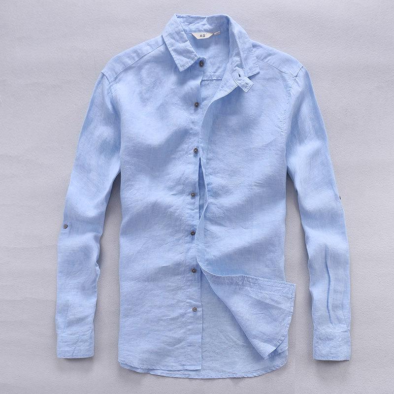 قميص رجالي إيطالي من الكتان الخالص بأكمام طويلة ، قميص رجالي عادي غير رسمي ، ماركة كلاسيكية ، قميص من الكتان