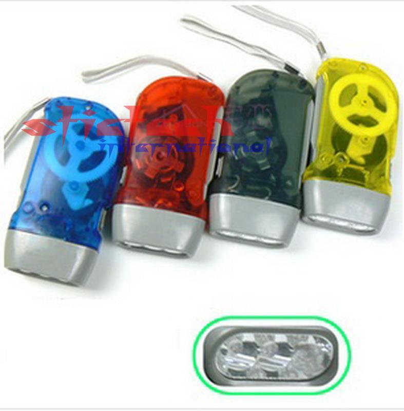Por dhl o ems 100 Uds 3 linterna LED de dínamo manivela de presión manual sin linterna de batería
