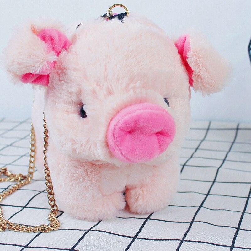 30x25cm Pink Pig Crossbody Bag Soft Plush Backpack Cute Cartoon Piggy Baby Animal Toy Plush Backpack Kids Girl Outdoor Bags