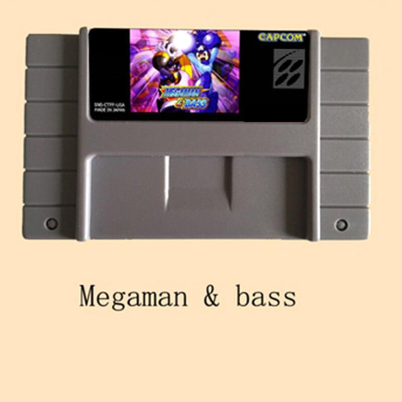 Megaman & Bass-tarjeta de juego grande, 16 bits, gris, para NTSC de...