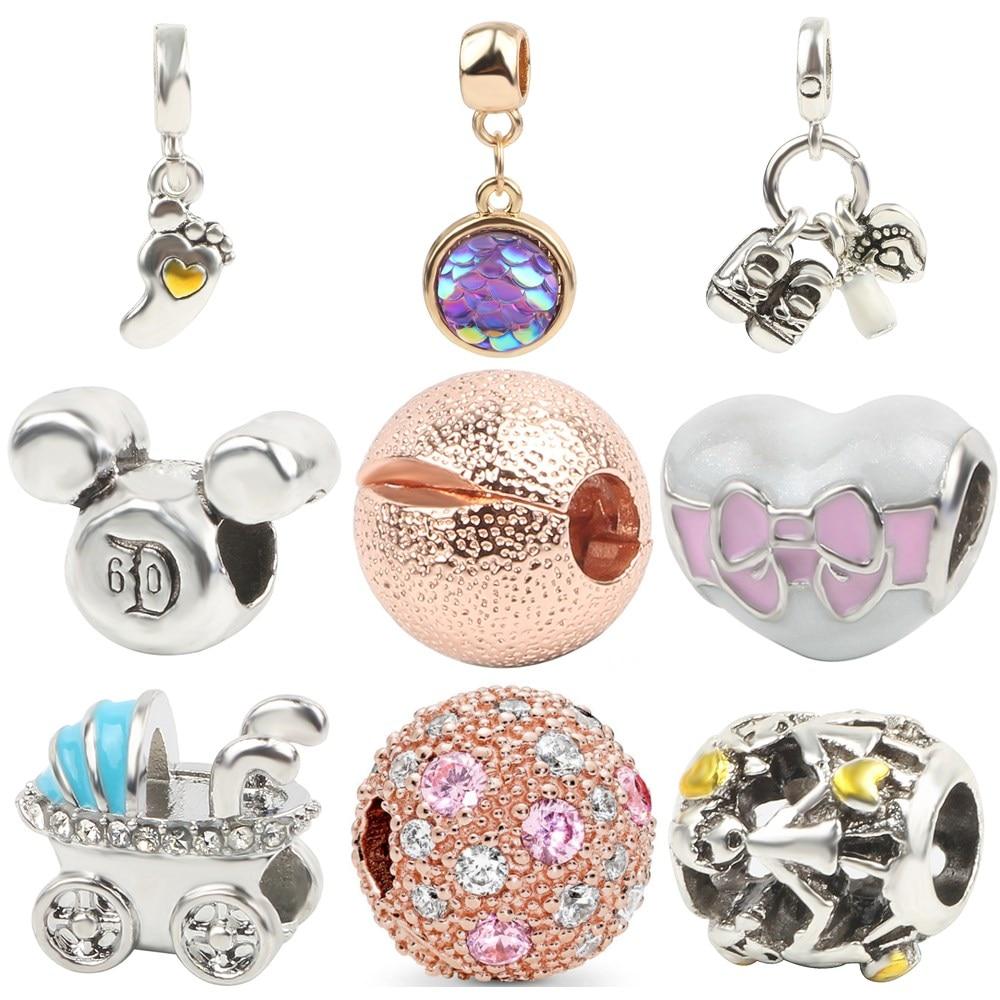Simple Boy Footprint Baby carriage Rose gold Color DIY Bead Fit Original Pandora Charms Silver Color Bracelet Trinket Jewelry