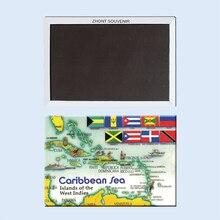Aimants décoratifs pour réfrigérateur carte de la mer des caraïbes Souvenir pour magasin 22175 Image Vintage
