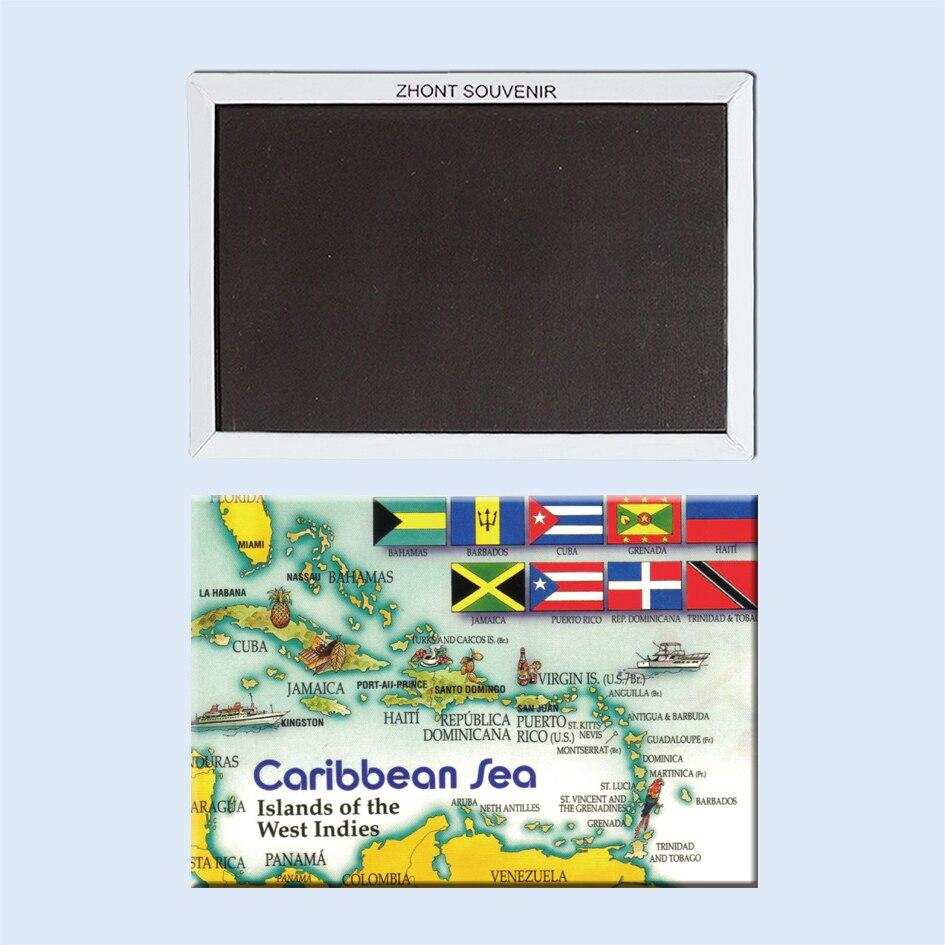 Imanes decorativos para nevera Mapa de recuerdo del Mar Caribe para tienda imagen Vintage 22175