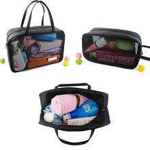 THINKTHENDO Fashion Black Cosmetic Bag Women Travel Make up Toiletry Bags Makeup Handbag Organizer Case