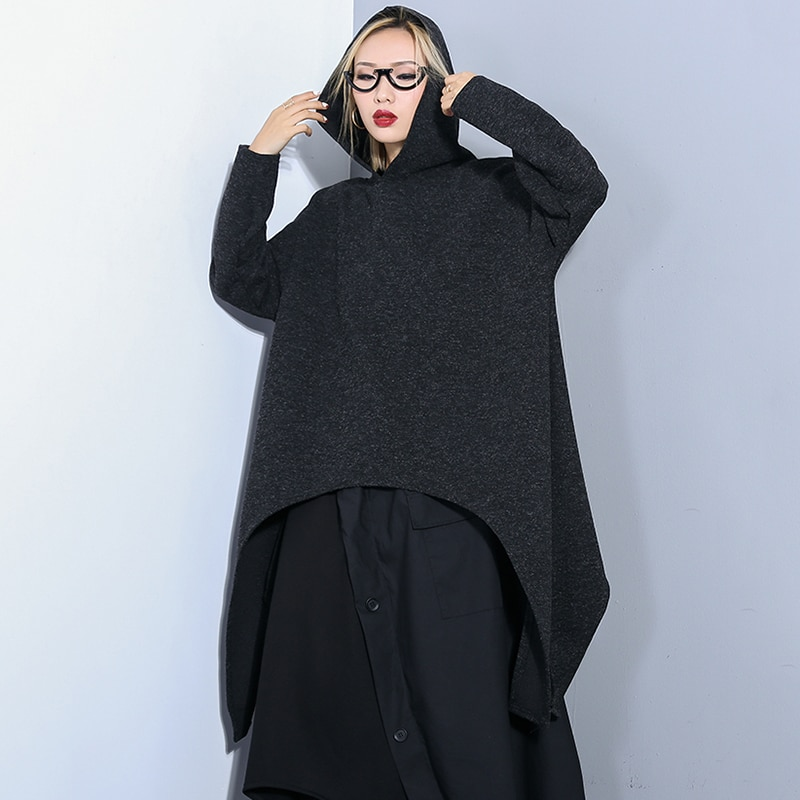 Fashion Irregular Hem Design Black Hoodies Women Clothes 2019 New Streetwear Oversized Spring Swearshirt Women Long Hoodie Tide