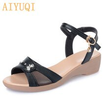 AIYUQI Women Sandals Genuine Leather 2021 New Women Sandals Flat Casual Shoes Mother Shoes Summer La