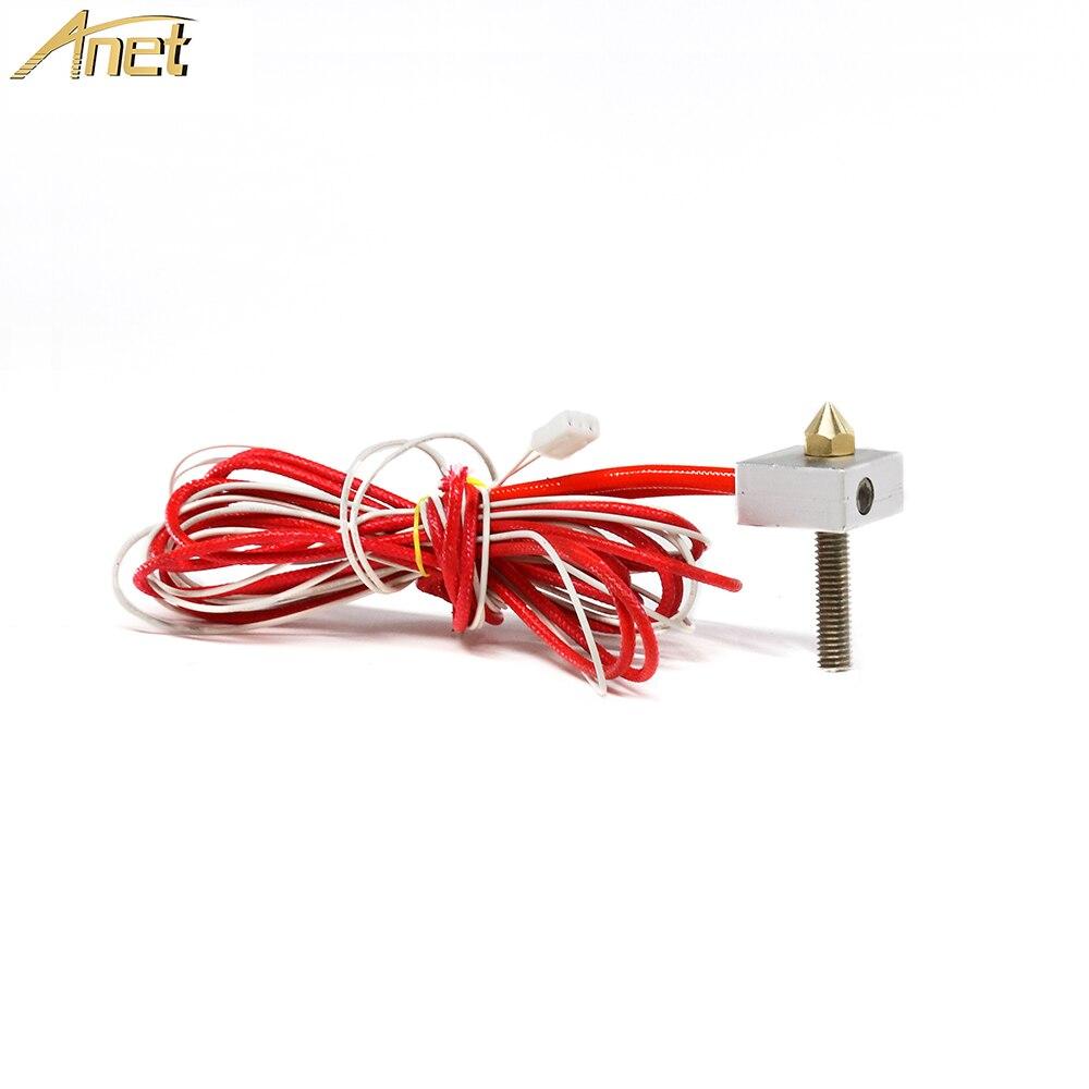 1 Набор Anet Экструзионная головка DIY Горячий Конец Telfon трубка 0,4 мм сопло термистор нагревательный блок, нагревательная труба для A8 A6 3d принтер Часть