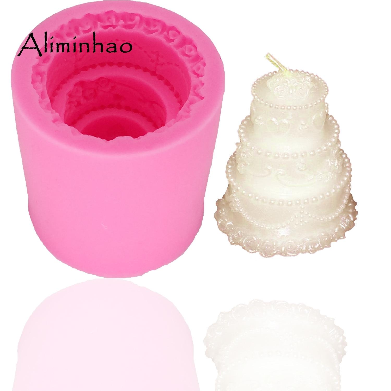 B0316 3-capa pastel forma vela molde DIY chocolate artesanía azúcar molde de silicona molde fondant pastel decoración accesorio herramientas de cocina