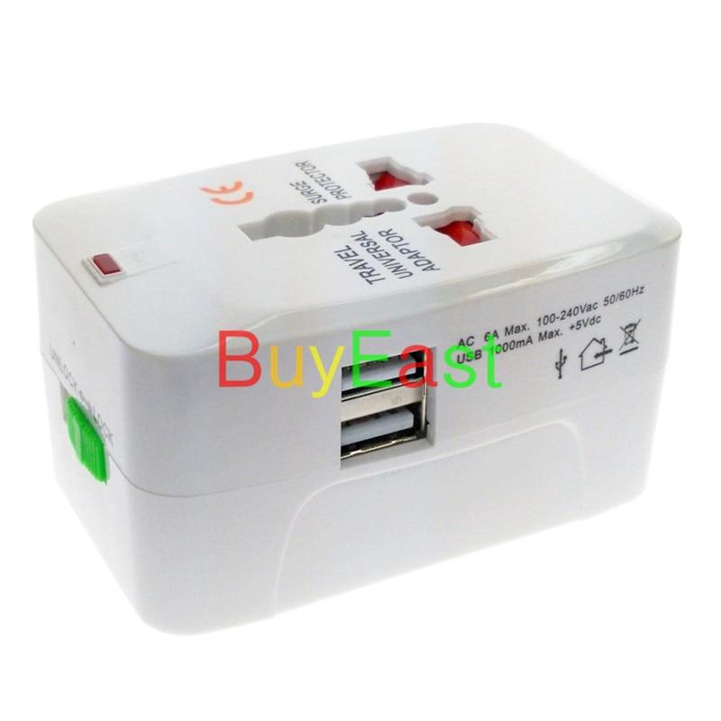 2 X مزدوجة USB شاحن 5V 1A العالمي التوصيل السفر محول الناتج conver AU/الولايات المتحدة/الاتحاد الأوروبي/المملكة المتحدة/الصين/اليابان ..... جميع أنحاء ا...