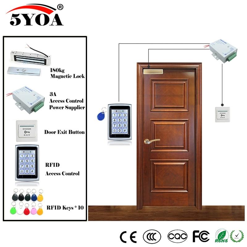 RFID Kit de sistema de Control de acceso, juego de puertas de gafas de madera + cerradura magnética eléctrica + llaveros de tarjeta de identificación + cargador de energía + botón de salida