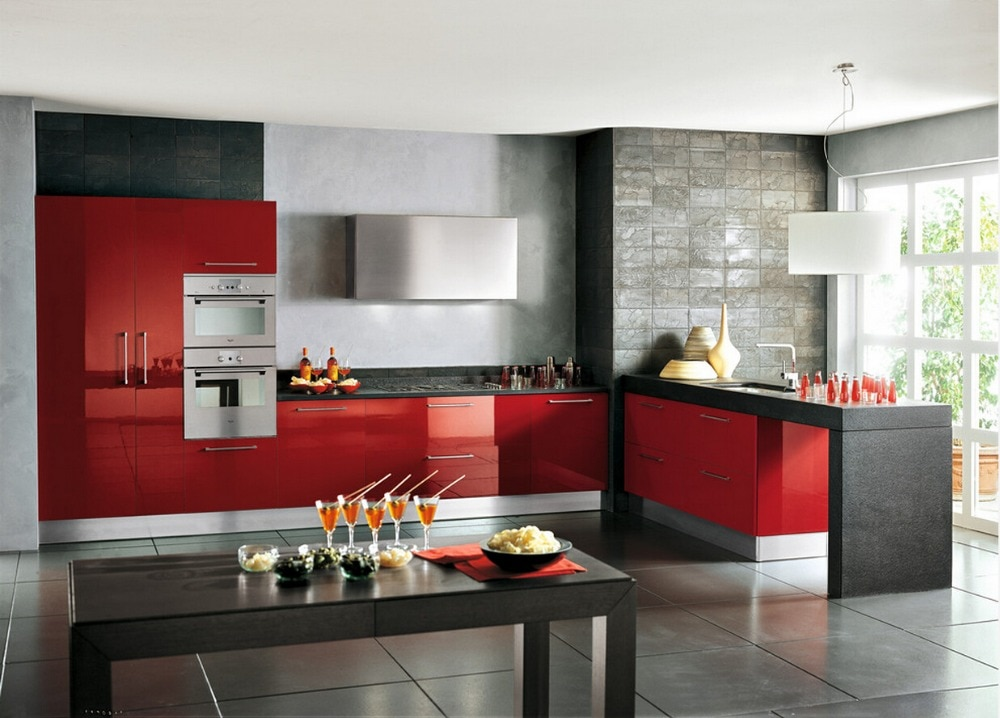 Лидер продаж 2017 лаковые кухонные шкафы с высоким блеском красного цвета