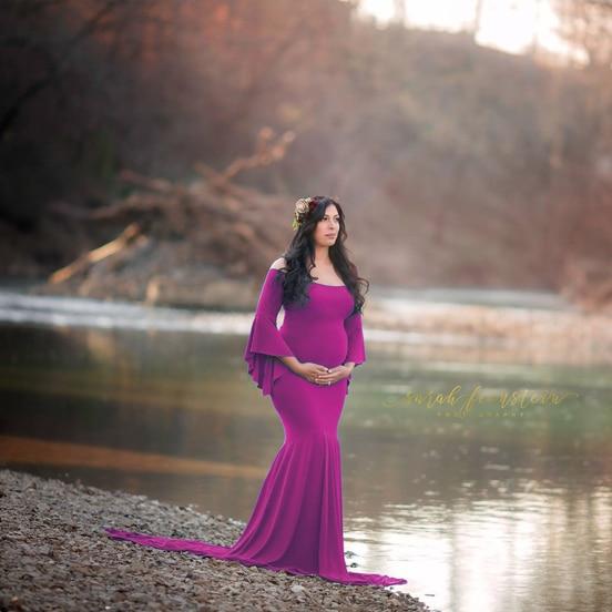 Novo estilo fotografia maternidade adereços vestido maxi vestido de algodão fantasia foto tiro roupas grávidas romântico elegante vestido