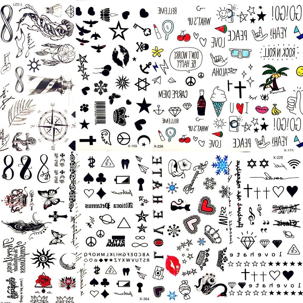 Hot Small  Lips Leaf Black Cartoon Temporary Tattoo Cute Star Tattoo Sticker Love Women Body Finger Art Tatoo Kid Waterproof