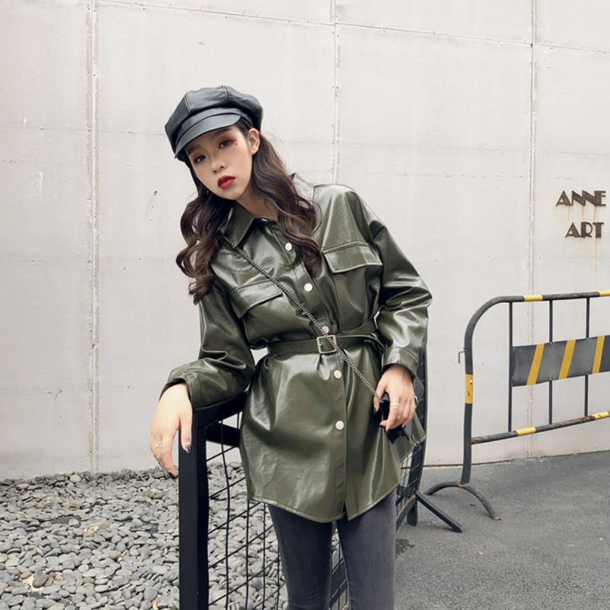 موضة العلامة التجارية لامعة براءات سترات من الجلد بولي leather سترة جلدية الإناث الشارع نمط واحدة الصدر سترة جلدية طويلة wq561