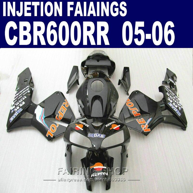 Calcomanía Repsol carenados para Honda CBR 600 RR 2006 2005 (negro naranja) cbr600rr 05 06 Kit de carenado de ABS de inyección l83