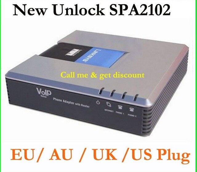 Envío Gratis desbloqueado SPA2102 VoIP adaptadores con router VoIP puerta forma llamada gratis