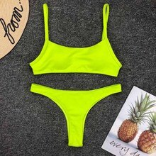 Women Swimwear 2020 Neon Yellow Micro Bikini Sexy Thong Swimsuit Female Low Waist Bikini set Bather Ribbed Bathing Suit