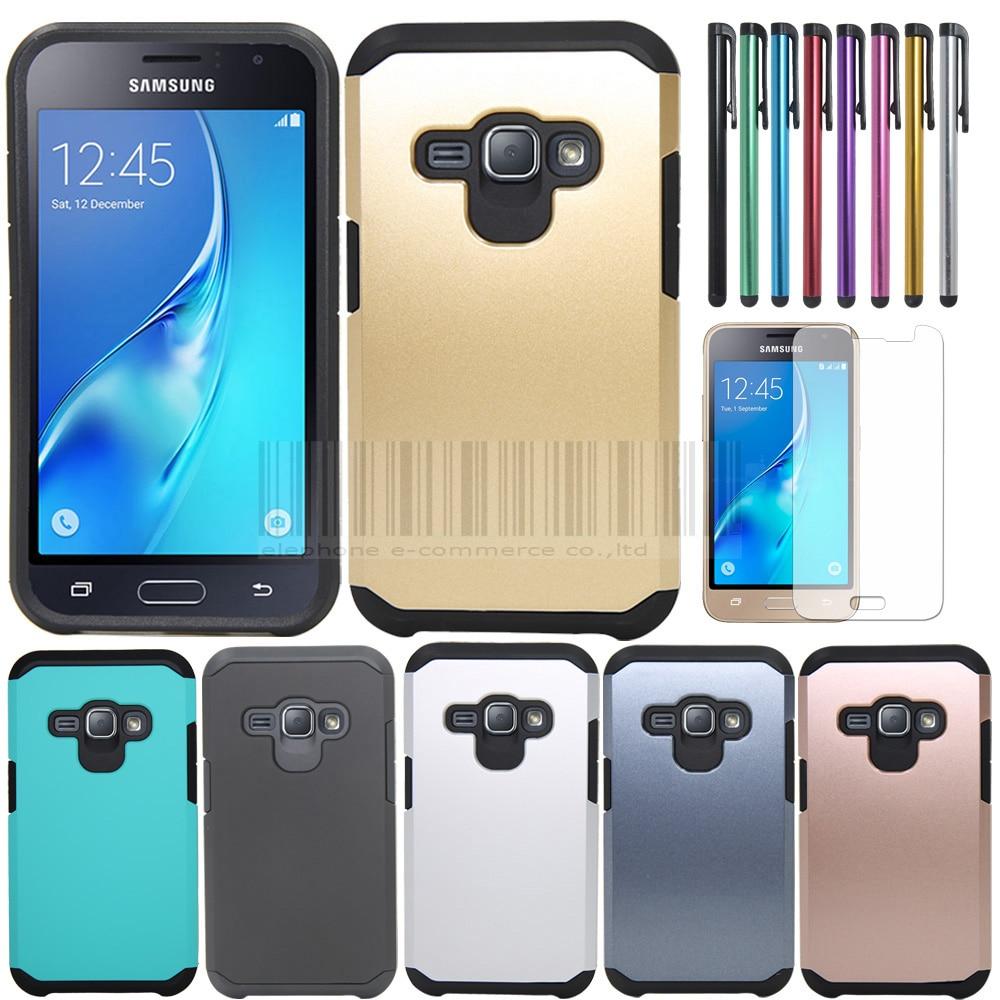 2 en 1 funda trasera dura doble armadura delgada protectora para Samsung Galaxy Amp 2 con protectores de pantalla LCD + Stylus