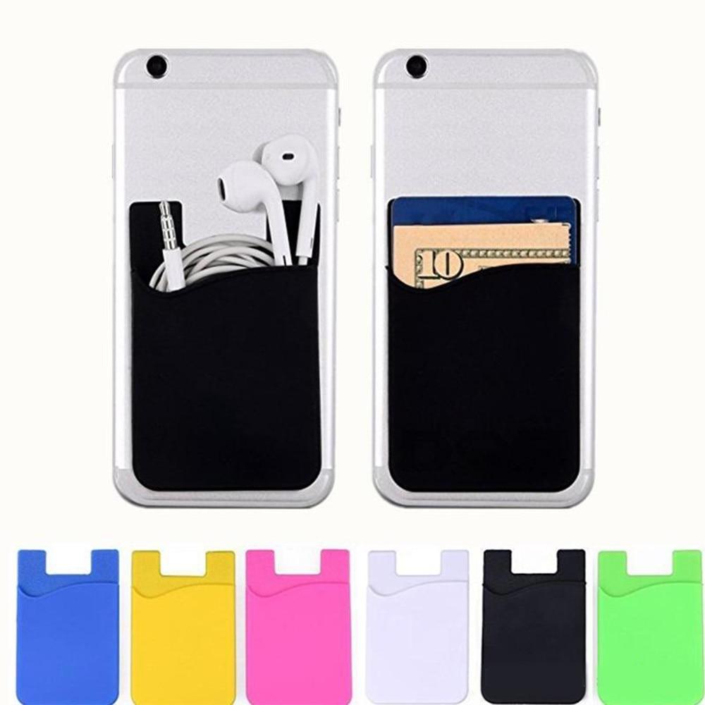 5 uds. Portatarjetas de teléfono de silicona, funda billetera móvil, portatarjetas de crédito, palo de bolsillo en adhesivo 3M con bolsa OPP