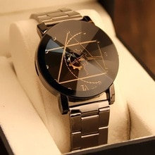 2021 New Fashion Brand Round Dial Black Couple Watch Men Luxury Stainless Steel Casual Quartz Watch