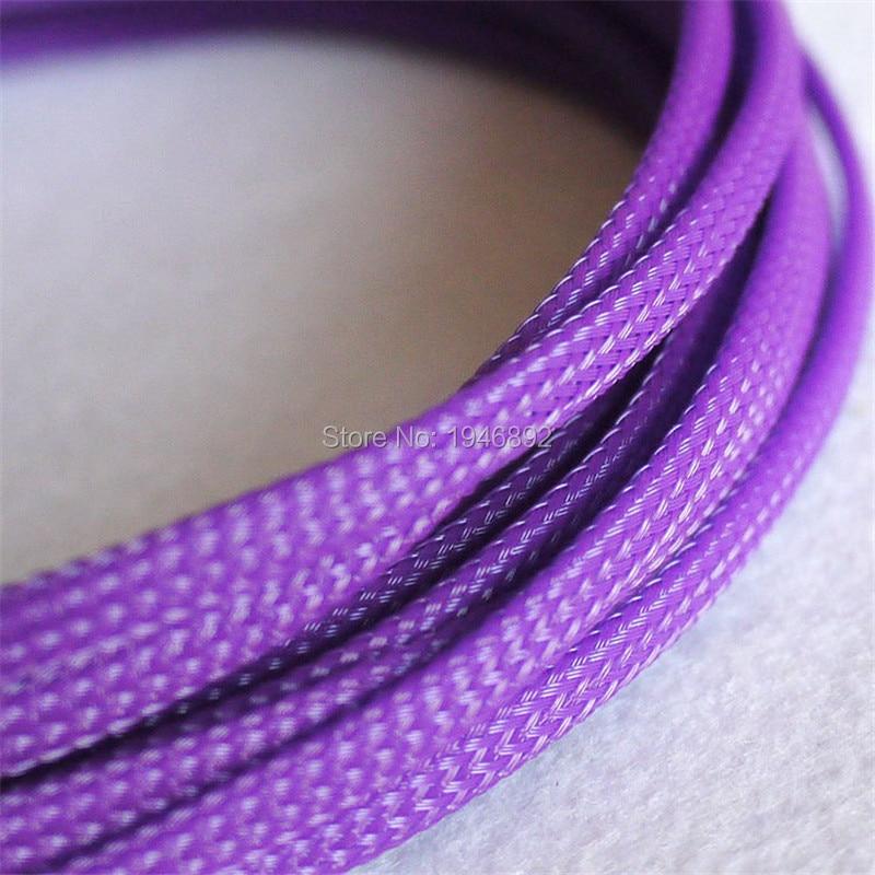Púrpura-Alta Calidad 4mm trenzado mangas extensibles de PET revestimiento de alta densidad trenzado Cable mangas