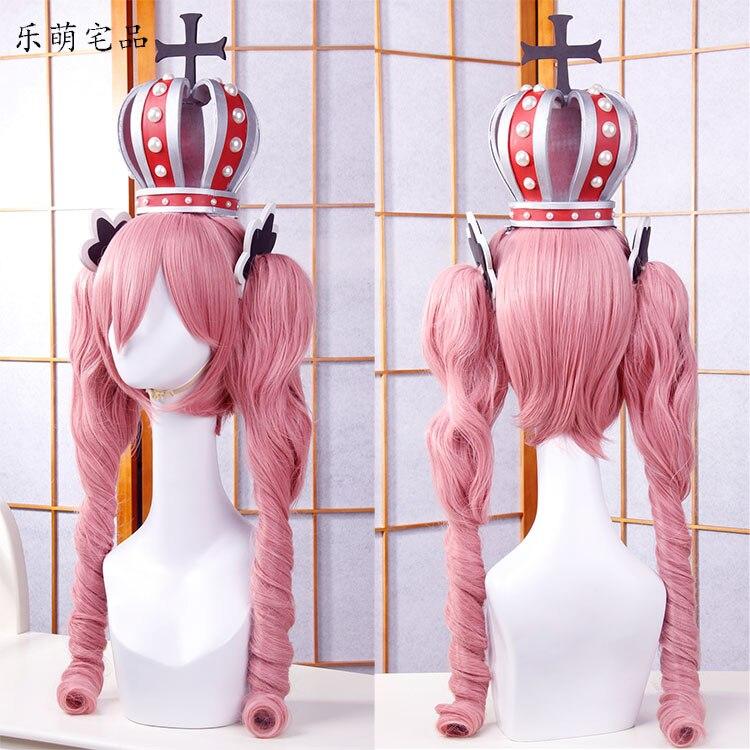 Anime Een Stuk Cosplay Pruik Ghost Princess Perona Roze Lang Krullend Golvend Paardenstaarten Synthetisch Haar Volwassen Pigtail