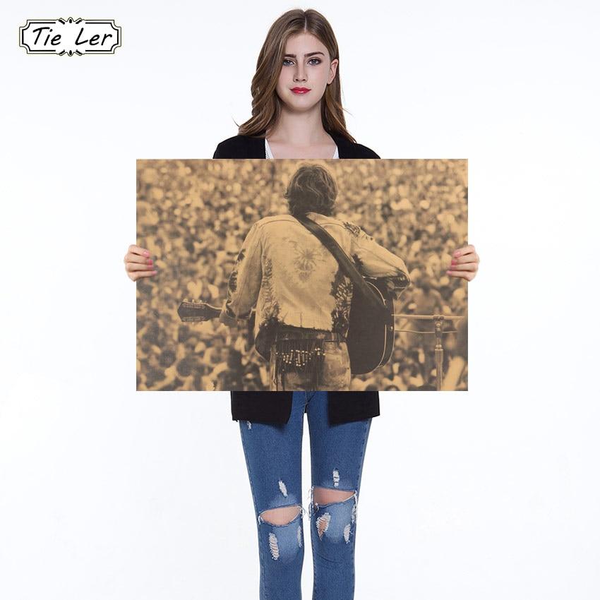 Cartel nostálgico de Festival de música de Rock de Woodstock, Papel kraft clásico, póster, Adhesivo de pared de salón para dormitorio
