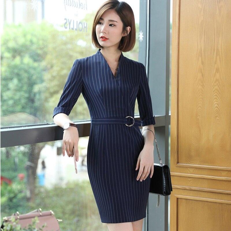 Spring Autumn Slim Fashion Dresses Half Sleeve Dress Ladies Office Work Wear Female Tops Clothes Plus Size 3XL Beauty Salon
