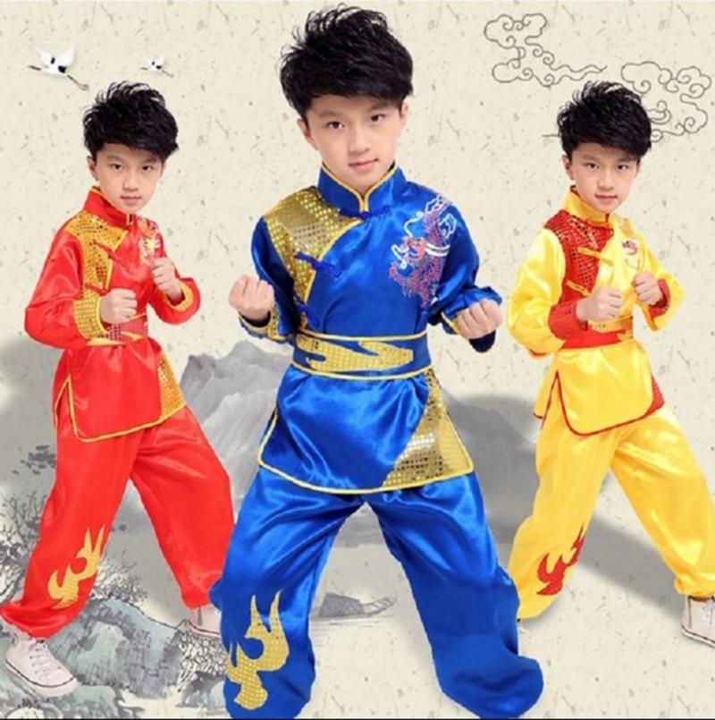 Китайский костюм красная Детская традиционная Униформа ушу костюм для детей кунг фу одежда для девочек танцевальный комплект для мальчиков и девочек|Танцевальный костюм для китайских народный танцев| | АлиЭкспресс