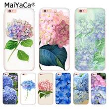 MaiYaCa Blue Hydrangea Botanical flower Transparent phone case for iphone 11 Pro 8 7 6 6S Plus X 5 5S SE XS XR XSMAX