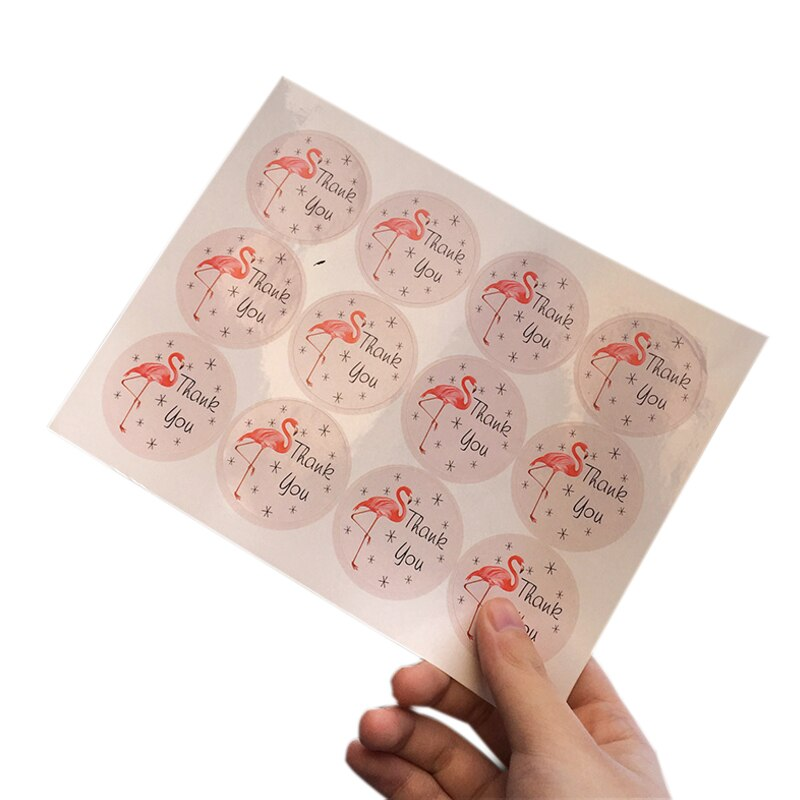 120pcs/lot Flamingo Round thank you seal sticker Seal Label DIY Box Packaging Paper Sticker Decor