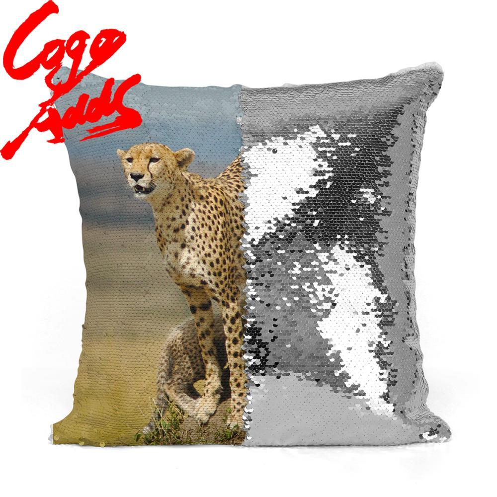 Cheetah Волшебная наволочка с блестками, подушка-Русалка 40*40, декоративная двухсторонняя наволочка с блестками для дивана, декоративная наволо...