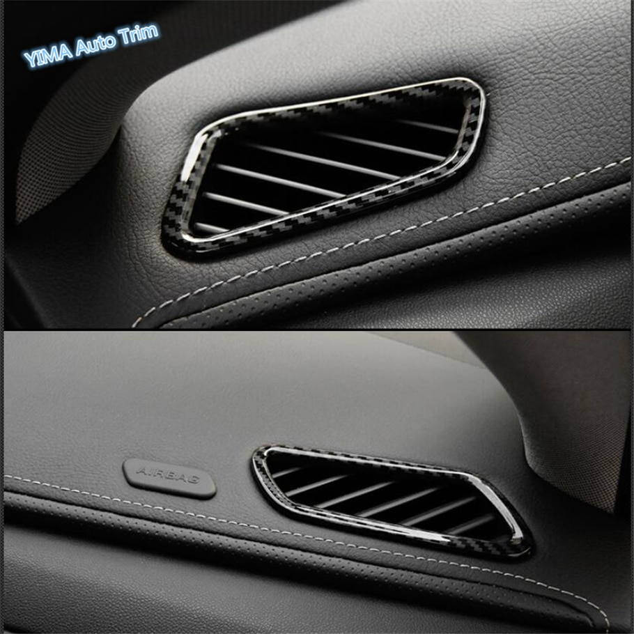 Lapetus Car Styling Front Dashboard Air Condition Outlet Vent Cover Trim ABS Fit For Cadillac XTS 2015 - 2019 Carbon Fiber Look