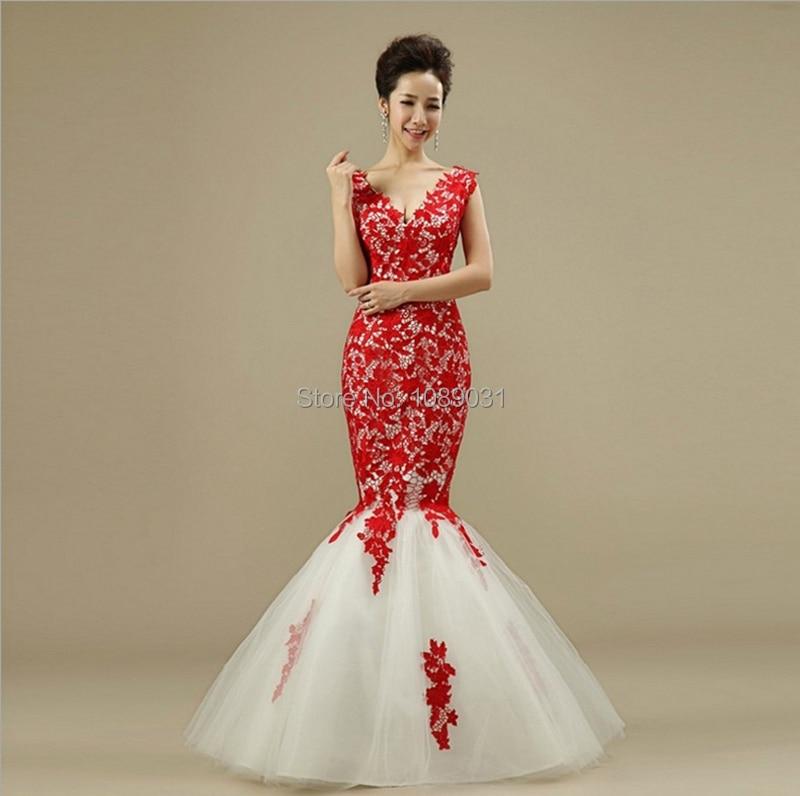 New Mermaid Red Wedding Dresses Elegant Bridal Gown Sexy V-Neck Lace Up Back Formal Dress Hot Sale Vestido De Noiva