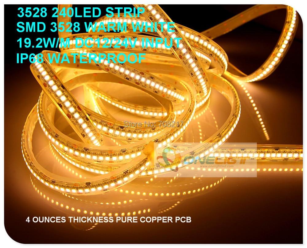 عالية جودة عالية مشرق SMD 3528 240 المصابيح/M LED قطاع ضوء ماء DC24V 19.2 الوزن/متر للتسوق مول غرفة المعيشة الحلي مخزن