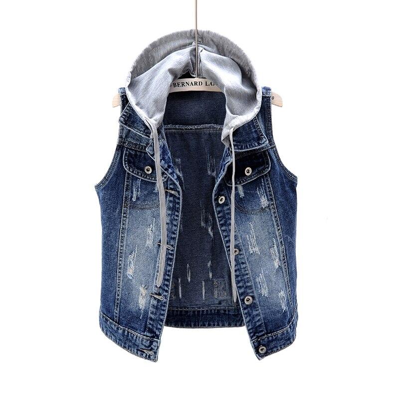 Primavera otoño chaqueta vaquera con capucha desmontable chaleco Vintage delgado sin mangas Chaleco Corto abrigo Casual mujer Jeans chaquetas Tops
