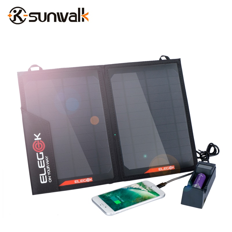 SUNWALK ELEGEEK 14 W Portable Mono panneau solaire chargeur de batterie double USB 5 V sortie chargeur solaire avec sac de rangement pour iPhone