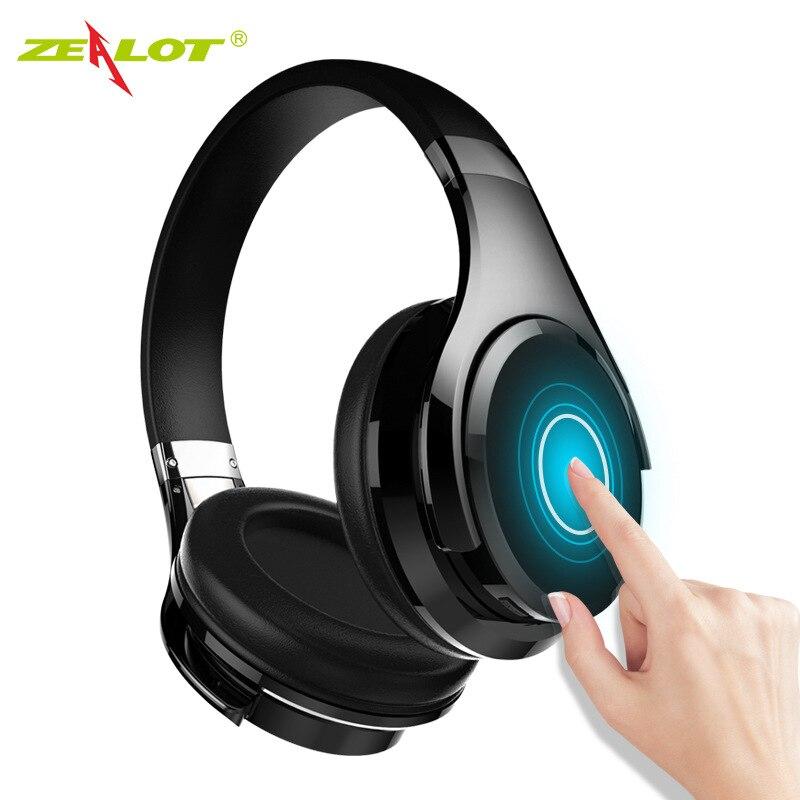 ZEALOT B21 беспроводные Bluetooth наушники Складная бас беспроводная гарнитура с микрофоном для компьютера, телефоны сенсорное управление