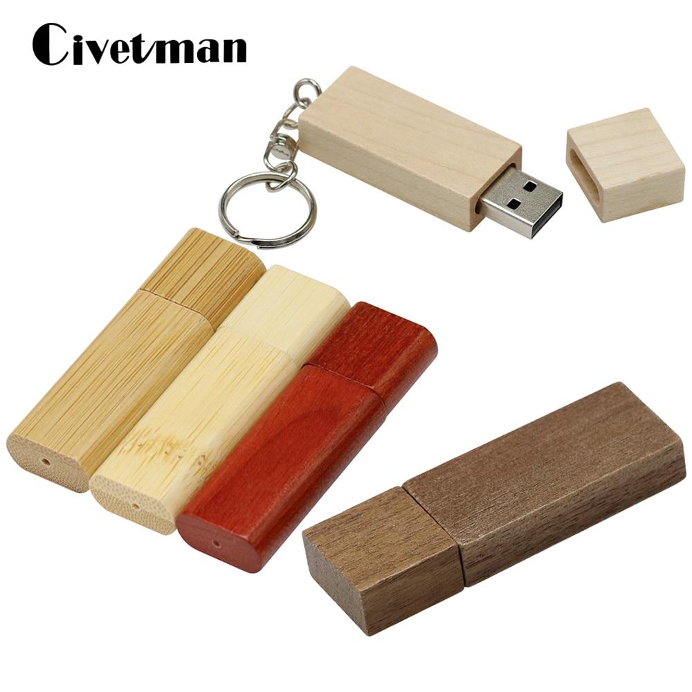 Деревянный бамбуковый USB флэш-накопитель, флэш-накопитель с деревянным чипом, Флэшка 8 ГБ, 16 ГБ, 32 ГБ, 64 ГБ, 128 ГБ, 256 ГБ, карта памяти, диск с брел...
