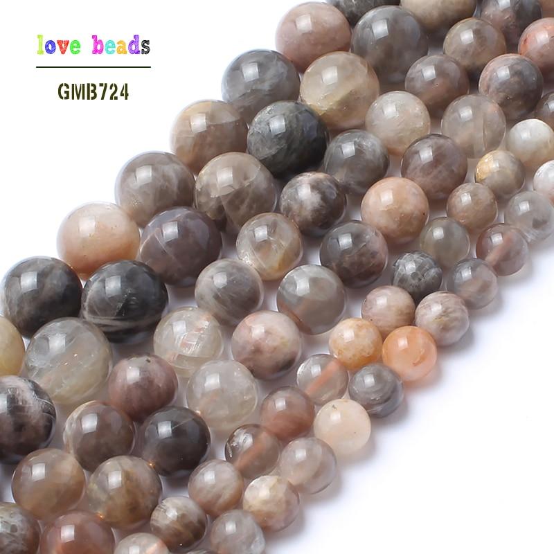 Natürliche Stein Perlen 15,5 zoll Schwarz Sonne Stein Lose Perlen Für Schmuck Machen 6mm 8mm 10mm Runde perlen DIY Armband Halskette