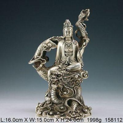 Obra oriental hecha a mano antigua estatua de dragón kwan-yin de plata del Tíbet