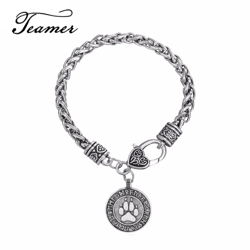 Teamer Mens/Women Vintage Bracelets & Bangles Ancient Viking Tunes Bear Claw Charm Pendant Amulet Antique Sliver Wrist Jewelry